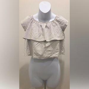 Ella Moss Anthropologie Short Sleeve Crop Blouse